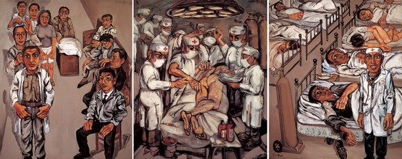 Zeng Fanzhi, Hospital Triptych No. 1, 1991 Oil on canvas, in 3 parts, overall: 70 ⅞ × 181 ⅞ inches (180 × 460 cm)© Zeng Fanzhi Studio