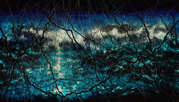 Zeng Fanzhi, Blue, 2015 Oil on canvas, in 3 parts, overall: 157 ½ × 275 ⅝ inches (400 × 700 cm)© Zeng Fanzhi Studio
