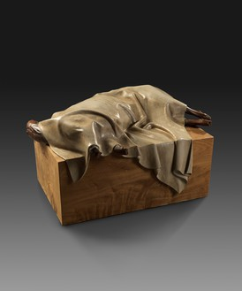 Zeng Fanzhi, Covered Lamb, 2009 Golden silk nanmu wood, 43 ⅜ × 27 ⅝ × 21 ⅝ inches (110 × 70 × 55 cm)© Zeng Fanzhi Studio