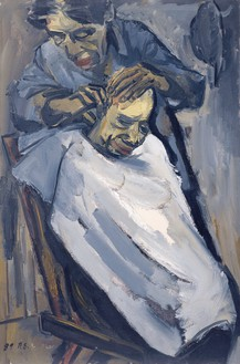 Zeng Fanzhi, Haircut, 1989 Oil on canvas, 39 ⅜ × 27 ⅝ inches (100 × 70 cm)© Zeng Fanzhi Studio