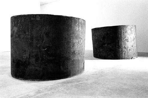 Richard Serra, Two Forged Rounds for Buster Keaton, 1991 Forged steel, 2 elements: 64 × 89 inches each (162.6 × 226.1 cm)