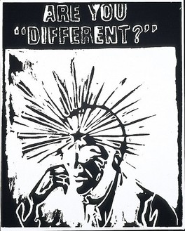 "Andy Warhol, Are You ""Different?"" (Negative), 1985 Silkscreen ink on synthetic polymer paint on canvas, 20 × 16 inches (50.8 × 40.6 cm)"