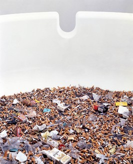 Damien Hirst, Party Time, 1995 (detail) GRP composites, foam and contents of ashtray, 96 inches diameter (243.8 cm)