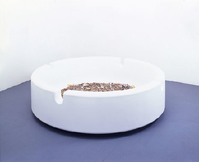 Damien Hirst, Party Time, 1995 GRP composites, foam and contents of ashtray, 96 inches diameter (243.8 cm)