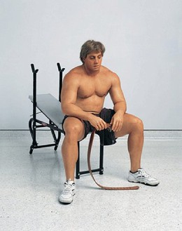 Duane Hanson, Bodybuilder, 1989–95 Autobody filler, polychromed in oil, mixed media, with accessories, 47 × 38 × 39 inches (119.4 × 96.5 × 99.1 cm), edition of 2