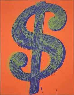 Andy Warhol, Dollar Sign, 1981 Synthetic polymer paint and silkscreen ink on canvas, 90 × 70 inches (228.6 × 177.8 cm)