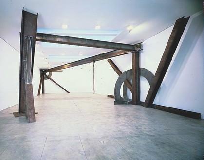 "Mark Di Suvero, Inner Sculpture for Euler, 1997 Steel, 16' × 35' × 59'4"" (4.9 × 10.7 × 18.1 m)"