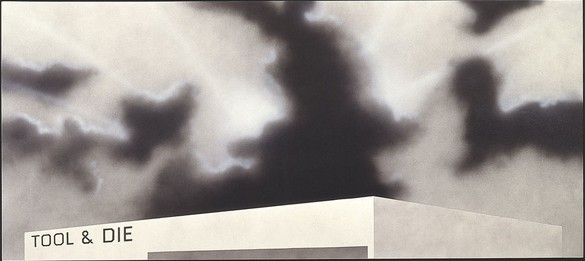 Ed Ruscha, Blue Collar Tool & Die, 1992 Acrylic on canvas, 52 × 116 inches (132.1 × 294.6 cm)