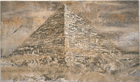 Anselm Kiefer, Your Age and Mine and the Age of the World, 1997 Emulsion, acrylic, clay and sand on canvas, 130 × 220 ½ inches (330 × 560 cm)