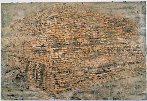 Anselm Kiefer, Sonnenreste, 1997 Emulsion, acrylic, shellac, burnt clay and san on canvas, 149 ⅝ × 220 ½ inches (380 × 560 cm)