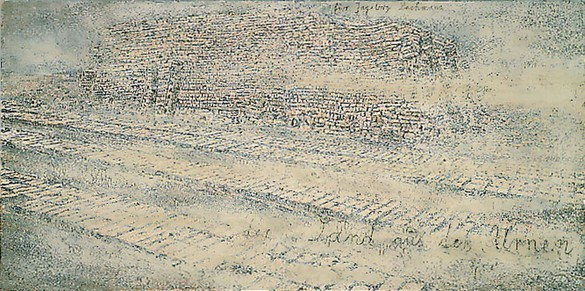 Anselm Kiefer, Der sand aus den urnen, 1997 Emulsion, shellac, acrylic, clay and sand on canvas, 110 ½ × 220 ½ inches (280 × 560 cm)
