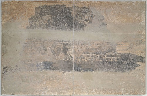 Anselm Kiefer, Palace of Heaven, 1997 Clay, acrylic, and sand on paper on cardboard, 40 × 31 ½ × 4 inches (101.6 × 80 × 10.2 cm)