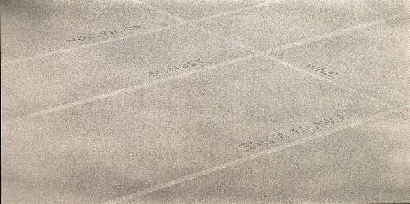 Ed Ruscha, Hollywood, Sunset, Santa Monica, Vine, 1998 Acrylic on canvas, 70 × 138 inches (177.8 × 350.5 cm)