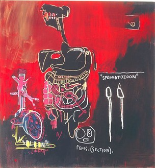 Jean-Michel Basquiat, Untitled (Spermatozoon), 1983 Acrylic and oilstick on canvas, 66 × 60 inches (167.6 × 152.4 cm)