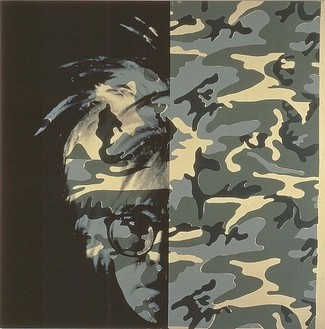 Andy Warhol, Self Portrait (Camouflage), 1986 Synthetic polymer paint and silkscreen ink on canvas, 80 × 80 inches (203.2 × 203.2 cm)