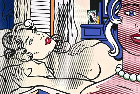 Roy Lichtenstein, Two Nudes, 1995 Oil and magna on canvas, 84 × 120 inches (213.4 × 304.8 cm)