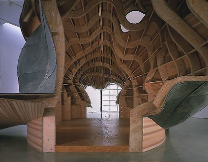 Frank Gehry, A Study, 1999 (view 3) Maple wood and lead, 20 × 40 × 25 feetPhoto by Douglas M. Parker Studio