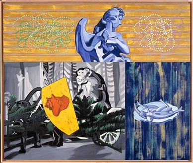 David Salle, Monkey Cart, 1999 Oil and acrylic on canvas with insert panel, 77 × 92 inches (195.6 × 233.7 cm)