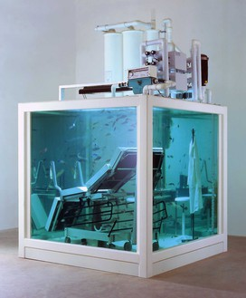 Damien Hirst, Love Lost, 2000 Aquatic tank and filtration unit, couch, table, stool, surgical instruments, computer, ring, cup, watch, and fish, 108 × 84 × 84 inches (274.3 × 213.4 × 213.4 cm)© Damien Hirst and Science Ltd. All rights reserved, DACS 2020