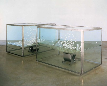 Damien Hirst, Theories, Models, Methods, Approaches, Assumptions, Results and Findings, 2000 Stainless steel and glass vitrines with ping pong ball and blowers, in 2 parts, each: 48 × 71 × 45 inches (121.9 × 180.3 × 114.3 cm)© Damien Hirst and Science Ltd. All rights reserved, DACS 2020