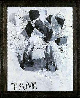 Georg Baselitz, Die Katze mit der Sperling, 2000 Oil on canvas, 122 ¾ × 100 ⅜ inches (311.8 × 255 cm)
