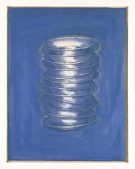 Robert Therrien, No title (blue stacked plates), 2000 Enamel and etching on paper, 44 ½ × 34 ½ inches (113 × 87.6 cm)
