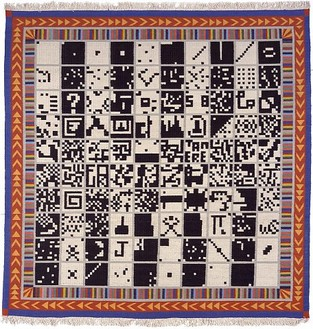 Alighiero E Boetti, Alternating 1 to 100 and Vice Versa, 1993 Woven fabric (kilim), 112 × 107 ½ inches (284.5 × 273cm)