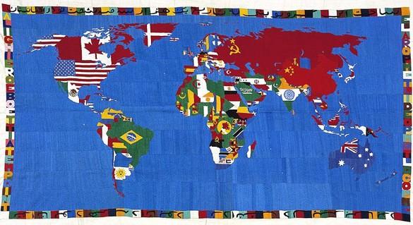 Alighiero E Boetti, Mappa, 1988 Embroidery, 45 ½ × 86 ½ inches (115.6 × 219.7cm)