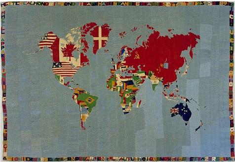 Alighiero E Boetti, Mappa, 1972 Embroidery, 63 × 93 inches (160 × 236.2 cm)