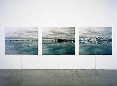 Elisa Sighicelli, Iceland: Icebergs, 2001 C-print on lightbox in three panels, Triptych: 47 ¼ × 197 × 1 ½ inches overall (120 × 500.4 × 3.8 cm), edition of 3