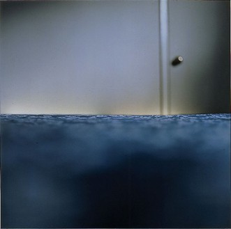 Elisa Sighicelli, Iceland: Blue Bed, 2001 C-print on lightbox, 49 ¼ × 49 ¼ × 1 ½ inches (125.1 × 125.1 × 3.8 cm), edition of 3