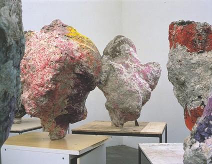 Franz West, Group with cabinet, 2001 (detail) 8 papier mâché sculptures, Dimensions variable