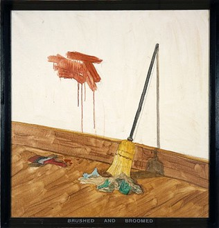 Neil Jenney, Brushed and Broomed, 1969 Acrylic and graphite on canvas with painted wood frame, 54 ½ × 52 ½ inches (138.4 × 133.4cm)