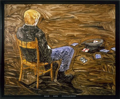 Neil Jenney, Man and Challenge, 1969 Acrylic on canvas with painted wood frame, 59 ½ × 71 ⅜ inches (151.1 × 181.3 cm)