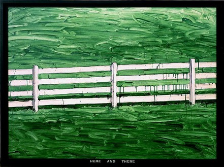 Neil Jenney, Here and There, 1969 Acrylic on canvas with painted wood frame, 58 ½ × 78 ½ inches (148.6 × 199.4cm)