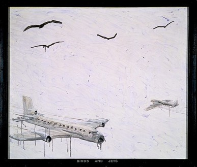 Neil Jenney, Birds and Jets, 1969 Acrylic on canvas with painted wood frame, 61 × 71 ¾ inches (154.9 × 182.2cm)