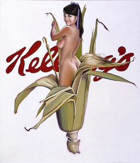 Mel Ramos, Miss Cornflakes, 1964 Oil on canvas, 72 × 60 inches (182.9 × 152.4 cm)