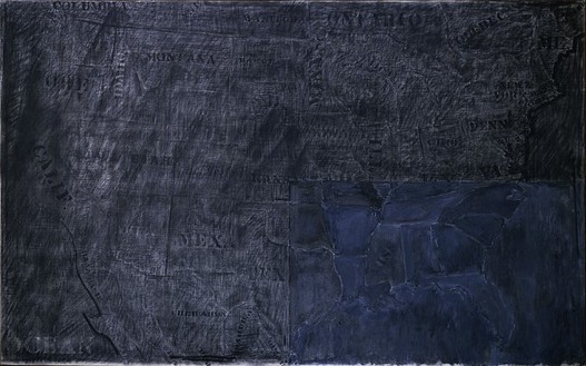Jasper Johns, Map, 1965 Charcoal and oil on canvas, 44 × 70 ½ inches (111.8 × 179.1 cm)
