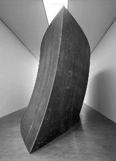 Richard Serra, Union of the Torus and the Sphere, 2001 Weatherproof steel, one spherical section, one Torus section, 142 × 447 × 125 inches, (3.6 × 11.4 × 3.2 m)© Richard Serra