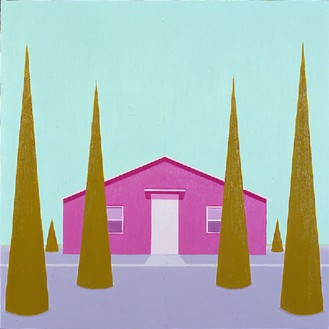 Salomón Huerta, Untitled House (#1), 2001 Oil on canvas on panel, 24 × 24 inches (61 × 61 cm)