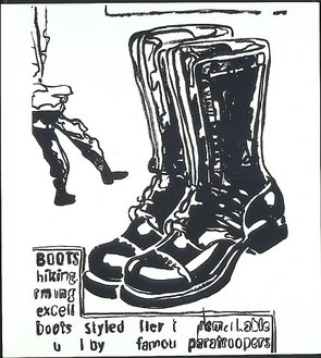 Andy Warhol, Paratrooper Boots (pos), 1985–86 Synthetic polymer paint and silkscreen ink on canvas, 80 × 72 inches (203.2 × 182.9 cm)
