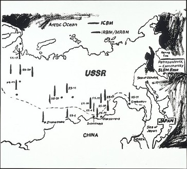 Andy Warhol, Map of Easten USSR Missle Bases (pos), 1985–86 Synthetic polymer paint and silkscreen ink on canvas, 72 × 80 inches (182.9 × 203.2 cm)