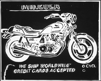 Andy Warhol, Mineola Motorcycle (neg), 1985–86 Synthetic polymer paint and silkscreen ink on canvas, 16 × 20 inches (40.6 × 50.8 cm)