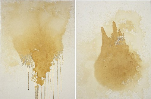 Andy Warhol, Piss Painting, 1978 Urine on gesso on canvas, 2 panels: 40 × 60 inches overall (101.6 × 152.4 cm)