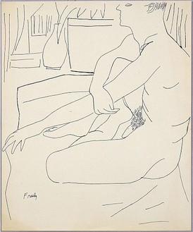 Andy Warhol, Seated Male Nude, c. 1954 Ink on manilla paper, 16 ¾ × 13 ¾ inches (42.5 × 34.9 cm)