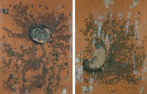 Andy Warhol, Oxidation Painting, 1978 Urine and metallic pigment in acrylic medium on canvas, 2 panels: 40 × 60 inches overall (101.6 × 152.4 cm)