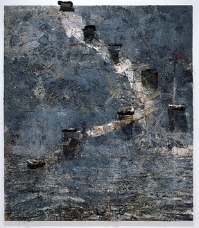 Anselm Kiefer, Sefer Hechaloth, 2002 Oil, emulsion, acrylic, metal shelves and burned books on canvas, 147 ½ × 130 inches (375 × 330 cm)Photo: Tom Powel