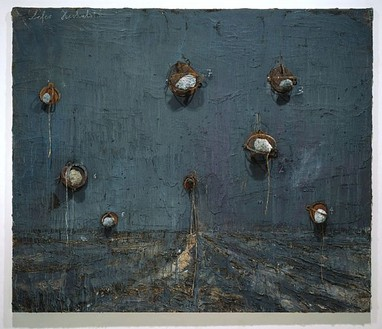 Anselm Kiefer, Die Sieben Himmelspaläste, 2002 Oil, emulsion, acrylic, lead objects and steel traps on canvas, 110 × 130 inches (280 × 330 cm)Photo: Tom Powel