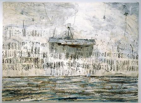 Anselm Kiefer, Merkaba, 2002 Oil, emulsion, acrylic and lead objects on canvas, 110 × 149 ½ inches (280 × 380 cm)Photo: Tom Powel