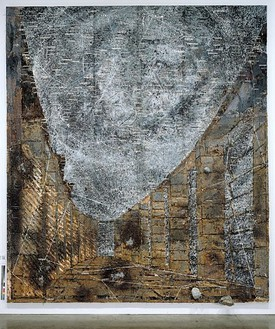 Anselm Kiefer, Die Himmelspaläste, 2002 Oil, emulsion, acrylic and lead objects on lead and canvas, 248 × 212 ½ inches (630 × 540 cm)Photo: Tom Powel
